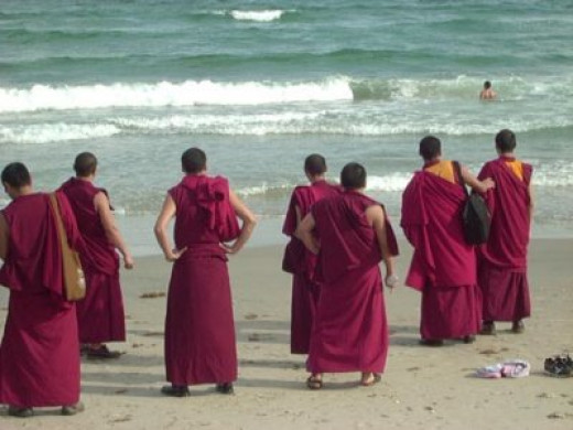 Monks visiting the beach
