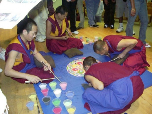 Creating the sand mandala