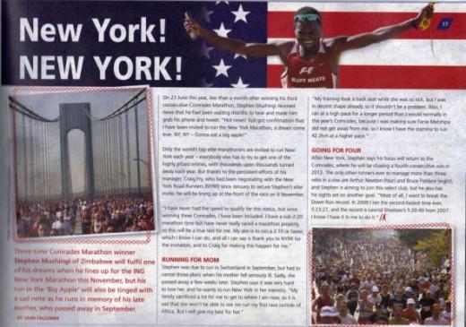 Stephen Muzhingi to run New York Marathon November 2011