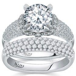 Valina Designer Engagement Ring With Pave Set Diamonds