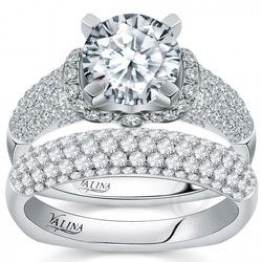 Valina Designer Engagement Ring With Pave Set Diamonds
