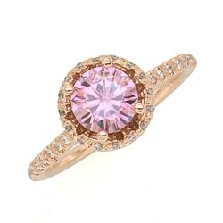 Rose Gold Pink Moissanite Ring