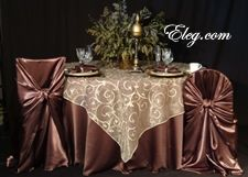 Bag-style chair covers, on square back (probably chiavari) and round-back banquet chairs.