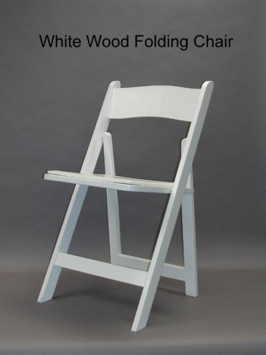 White padded chairs. Very popular, available at almost every rental company.