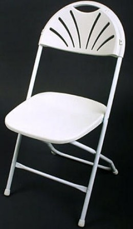 White plastic fanback chairs. These are available at a lot of rental companies and are a little fancier-looking than the white plastic folding chairs.