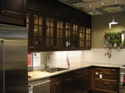 Kitchen remodel featuring glass fronted cabinets