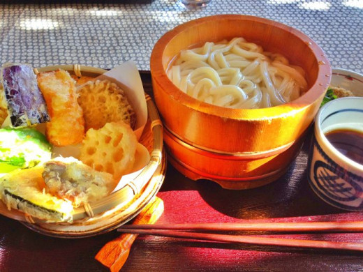 Lunch consisted of thick udon noodles and a plate of vegetable tempura.