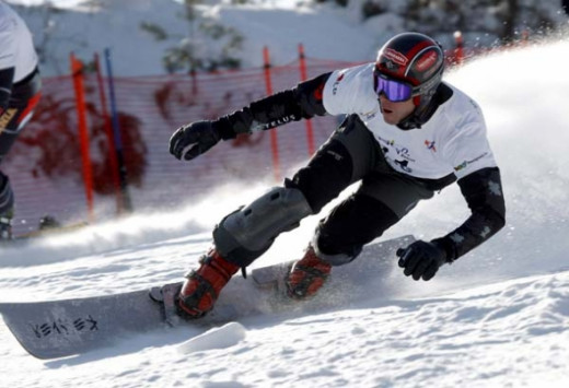 Jasey-Jay Anderson of Mt. Tremblant, Que. took first place during the FIS Snowboard  World Championship mens parallel giant slolom in Gangwon, Korea.
