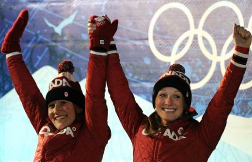 Kaillie Humphries and Heather Moyse won the gold medal speeding down the Goldrush Trail in a 2-person Bobsleigh Feb.24,2010