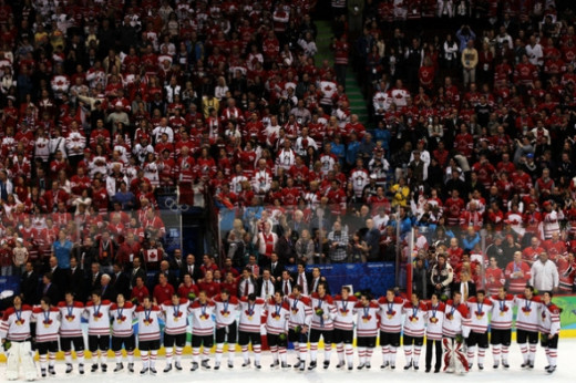 Team Canada celebrates gold after winning the hockey men's gold medal game between USA and Canada on February 28, 2010 in Vancouver, Canada.