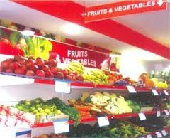 fruit discount rack, healthy eating, eating on a budget, vegetables, recipes