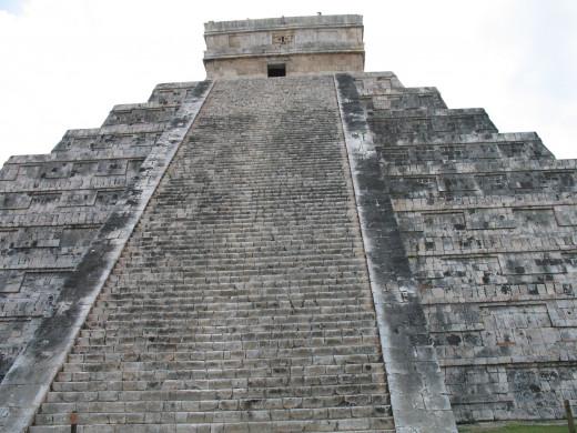 Looking up at El Castillo