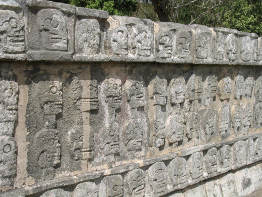 Wall of carved skulls