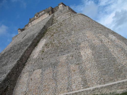 Looking up at the pyramid