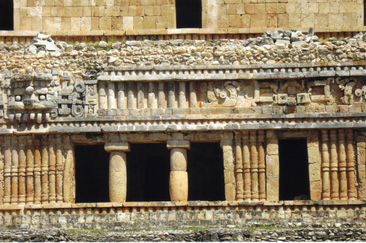 Close-up of detail in main structure of Sayil