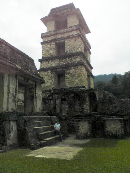 Me beneath the tower observatory within the palace of Palenque