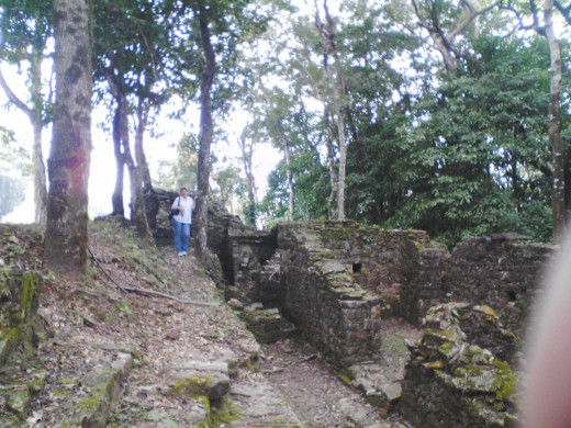 Exploring some of the excavation sites at the edge of the jungle