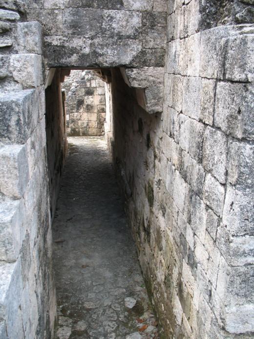 Exploring the ruins at Becán