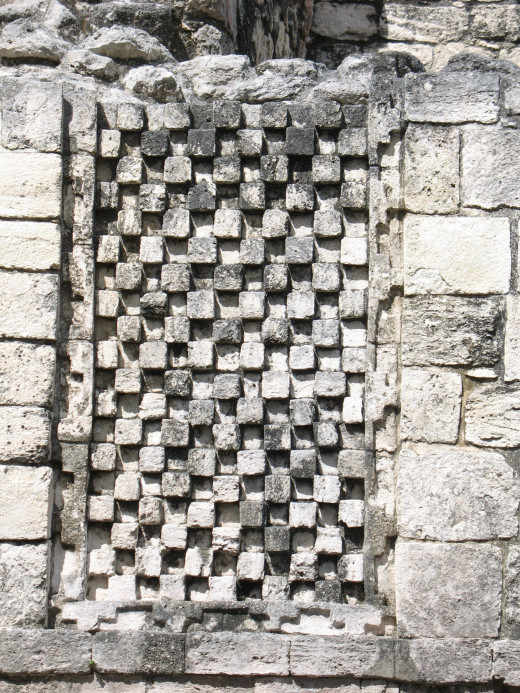 Close up of details in stone work at Becán