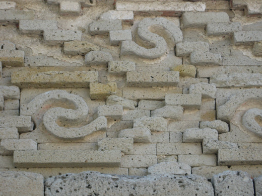 Close up of stone work at Mitla