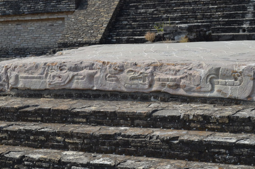 Faintly visible carvings are still viewable on some structures