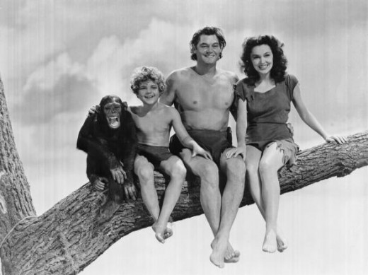 Weissmuller, Maureen O'Sullivan and Johnny Sheffield with Cheetah