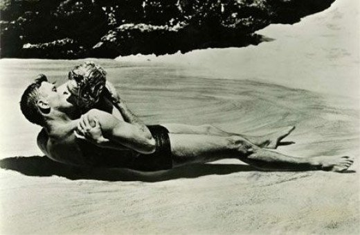The surf kiss with Burt Lancaster