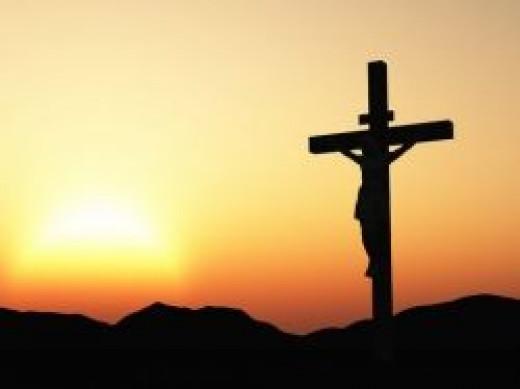 Crucifixion of god-man at dawn