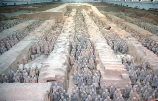 Excavated terracotta army