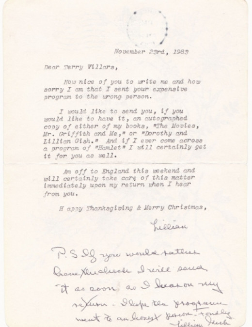 Letter in Which Lillian Gish Offered to Reimburse Me for Her Mistake