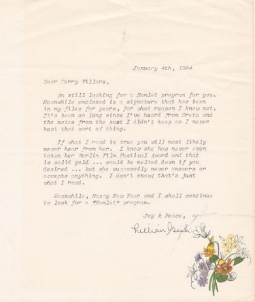 Lilian Gish Letter That Came With Autograph She Sent to Me