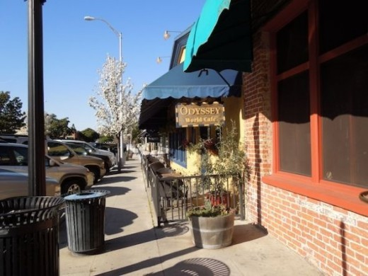 Sidewalk dining is popular in Paso Robles, and the Odyssey World Cafe offers a great selection of unusual food choices.