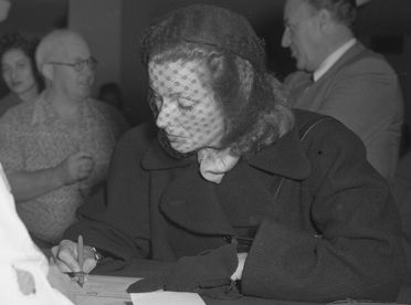 Greta Garbo - Filling Out Citizenship Papers - 1950