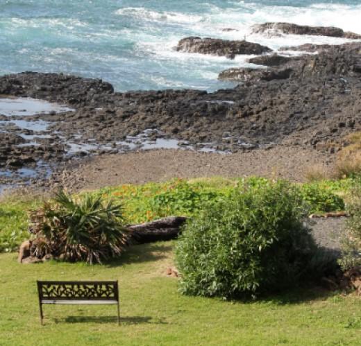 Garden seat by the beach