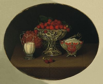 """Still Life With Strawberries"" - Hannah Brown - 1863"