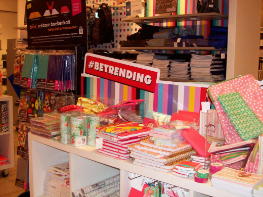 Colorful collection of back to school supplies in Dutch warehouse
