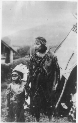 Woman and Child by Teepee