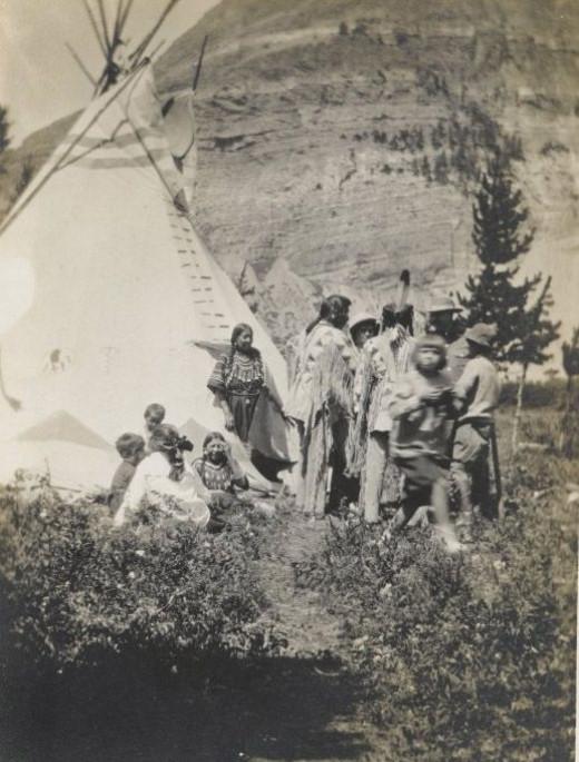 Informal Family Group Beside a Teepee