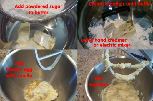 You can use a hand creamer or electric mixer. Cream together butter, powdered sugar, beaten egg with vanilla.