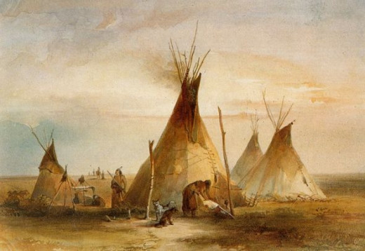 Karl Bodmer Watercolor Painting of Sioux Teepees - 1833