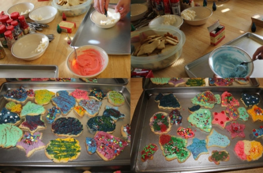 Make frosting and decorate cookies.