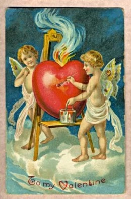 1909 Valentine with Cherubs and a Heart