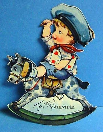 1920's Mechanical Valentine Boy on Horse