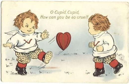 1920's Valentine Card of Two Cupids Playing with Your Heart!