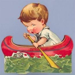 1930's Valentine Boy in Boat