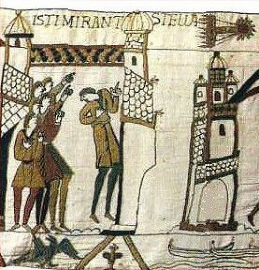 Tapestry of Bayeux (Normandy) with Halley's comet. Image in Public Domain and PD-23, published before 1923 and public domain in the US.