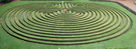 turf maze at Cockington Green Gardens