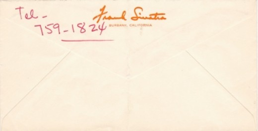 "Envelope from Frank Sinatra (in his hand) to ""Betty"""