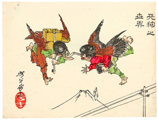 Illustration by Yoshitoshi published 1882. Image in public domain and in US PD-23 (published before 1923).