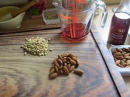 Pine nuts, Almonds and red wine vinegar ready to add the food processor.